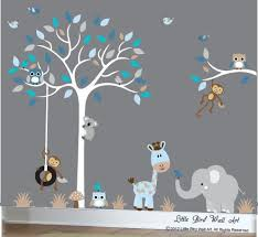 White Tree Wall Decal Nursery Baby Boy Wall Decal Nursery White Tree Wall Decal Grey Animal