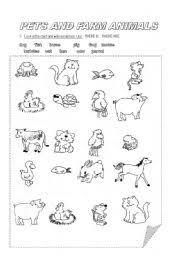 esl kids worksheets pets and farm animals