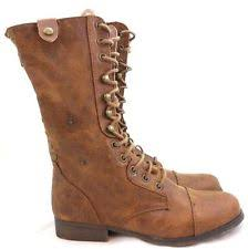 womens combat boots size 11 block heel lace up solid shoes combat boots for ebay