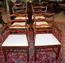 nice set of light mahogany ribbon back dining room chairs for sale
