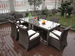 dining room outdoor dining set idea by the pond with rattan