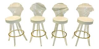 Lucite Stool Bathroom Vintage Lucite Acrylic Fan Back Bar Stools Set Of 4 Chairish