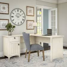 White L Shaped Desks Salinas L Shaped Desk With Storage In Antique White Free Intended