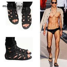 how to cut a flip for men hot man sandals punk style leather summer cool beach shoes cut out