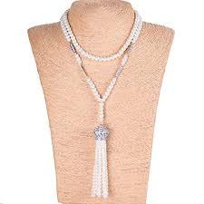 great necklace yallff faux pearl necklace for women great gatsby accessories