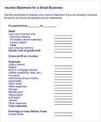 sample income statement template sample income statement template