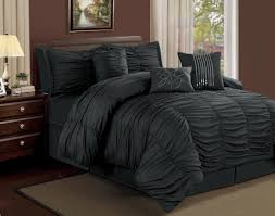 Black Bedroom Sets Queen Graceful Piece Cal King Ruffled Comforter Set Black With
