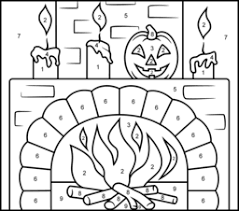 free printable halloween color number pages funycoloring