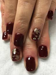 fall nails burgundy wine gold stamped fall leaves gel nails gel