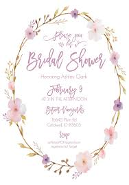 bridal shower invitation print floral wreath free printable bridal shower invitations
