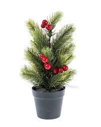 mini artificial potted decorative tree with berries