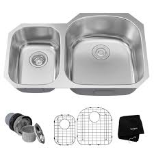how to keep stainless steel sink shiny kraus undermount stainless steel 32 in 40 60 double basin kitchen