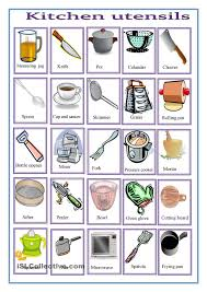 Esl Vocabulary Worksheets Kitchen Objects Engels English Pinterest English Spanish