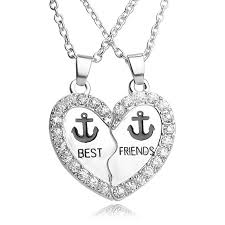 heart shaped charm necklace images Wholesale fashion best friend friendship heart shaped necklaces jpg