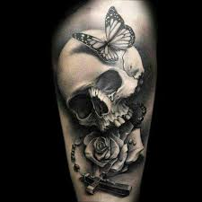 realistic butterfly skull rose and rosary tattoos