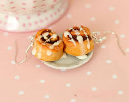 cinnamon bun earrings pastry etsy