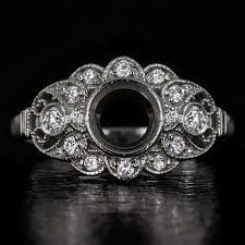 flower engagement rings vintage diamond semi mount bezel flower engagement ring