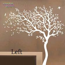 Nursery Wall Tree Decals Space Tree Wall Sticker White Tree Wall Decals