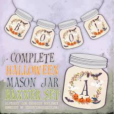 free printable halloween mason jar banner the cottage market