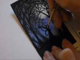 aceo cards for sale artist trading card time lapse painting forest faery silhouette