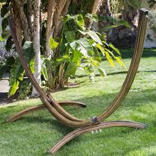 island bay faux woodgrain metal arc free standing hammock stand