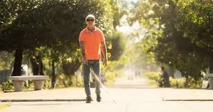 Blind Man Cane Blind Man Crossing The Street And Walking With Cane Stock Photo