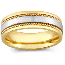 mens two tone gold wedding bands 14k two tone gold s rope detail comfort fit wedding band 8 mm