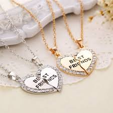 silver pendant heart necklace images 1 set best friend necklace pendant heart silver rhinestone bff jpg
