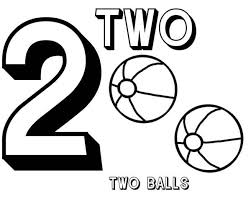 learn number 2 with two basketball coloring page bulk color