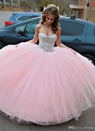 dress for quincea era sparkle crystals sweet 16 dresses sweetheart gown pink