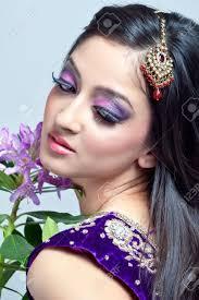 Beuti by Beautiful Indian Woman With Bridal Makeup Closeup Shot Stock