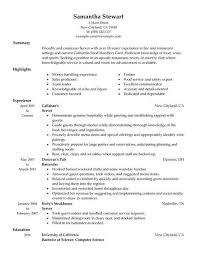 restaurant server resume resume template server resume sle free career resume template