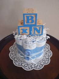 baby block diaper cake baby shower centerpieces blue and brown