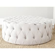 Button Tufted Ottoman Button Tufted Taupe Linen Fabric Ottoman