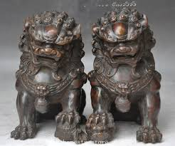 foo dog lion christmas china bronze fengshui foo dog lion beast guardian door
