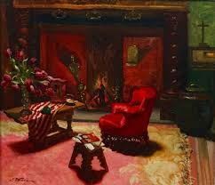 josé storie 1899 1961 interior with a fireplace le foyer oil