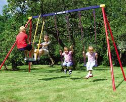 swingset with 2 regular swings and glider swing kettler usa