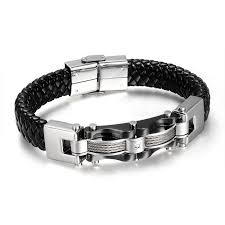 bracelet silver leather images Silver gold chained leather men 39 s bracelet ring to perfection jpg