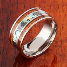 10mm ring koa wood abalone titanium wedding ring mens ring 10mm makani