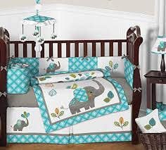 Gray And Turquoise Bedding Sweet Jojo Designs Turquoise Blue Gray And White Mod Elephant 9