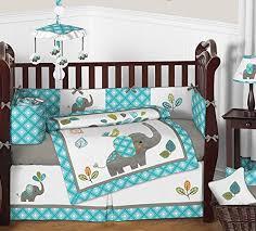 sweet jojo designs turquoise blue gray and white mod elephant 9