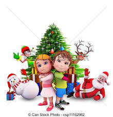 stock illustration of kids with christmas tree 3d art