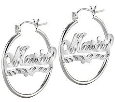 personalized name earrings sterling silver diamond cut hoop name earrings qvc