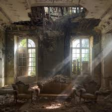Abandoned Place by Light Beams Cut Through The Dust At A Chateau In Belgium Photo By