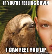 Feeling Down Meme - if you re feeling down i can feel you up the rape sloth meme