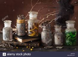 halloween glass jars witch apothecary jars magic potions halloween decoration stock