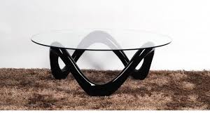 Base For Glass Coffee Table Round Glass Coffee Table With Black High Gloss Base Homegenies
