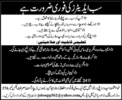 sub editors jobs in lahore 2013 december latest advertisement in