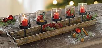 amazon com 27 5 in rustic wood candle centerpiece tray w five