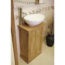 Wooden Vanity Units For Bathroom by Atla Slimline Compact Oak Bathroom Vanity Unit Click Oak